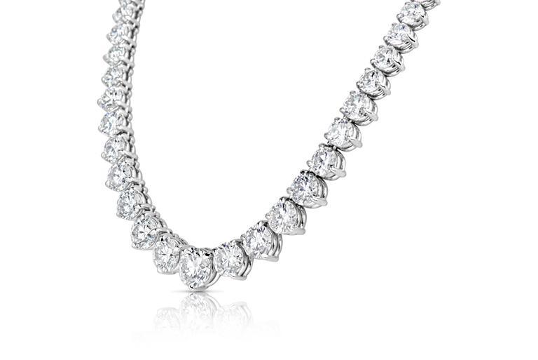 Diamond Platinum Graduated Riviera Necklace 50 Carat IGI Certificate 2