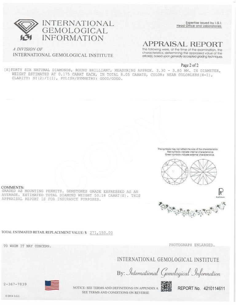 Contemporary Diamond Platinum Graduated Riviera Necklace 50 Carat IGI Certificate For Sale