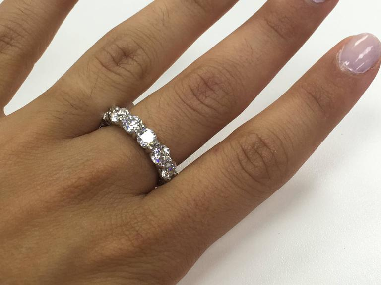 5.60 Carat Diamonds Platinum Eternity Band Ring For Sale 1