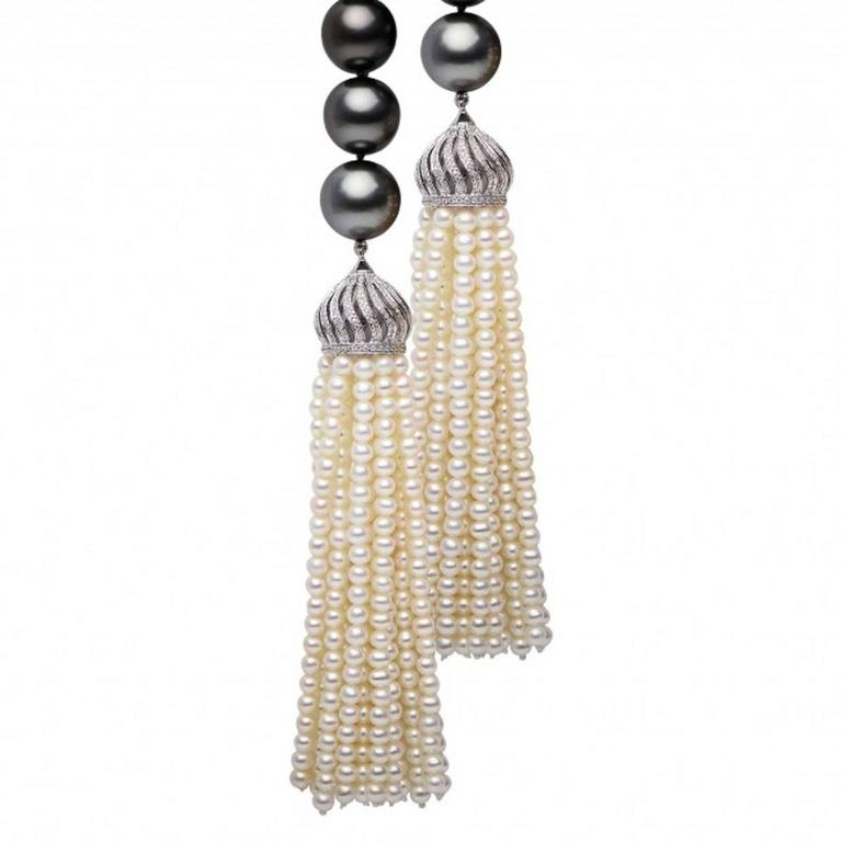 Tahitian Cultured Pearl Diamonds Tassel Necklace 2
