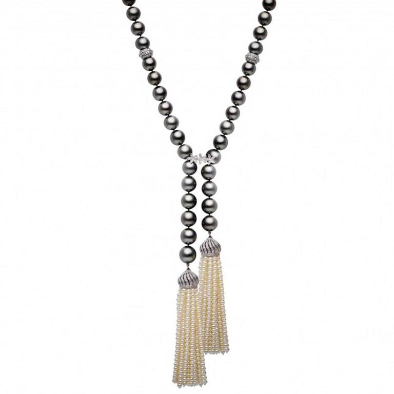 Tahitian Cultured Pearl Diamonds Tassel Necklace 3