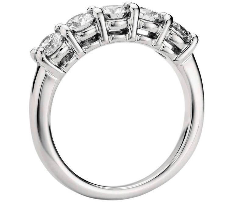 1.60 Carats Diamonds Eternal Diamond Platinum 5 Stone Ring  In New Condition For Sale In New York, NY