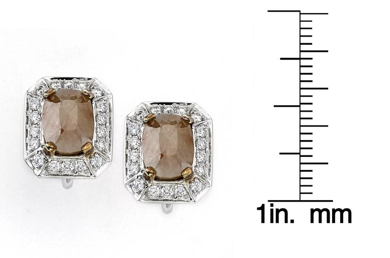 White Gold Emerald Cut Rough Diamond Studs In New Condition For Sale In New York, NY
