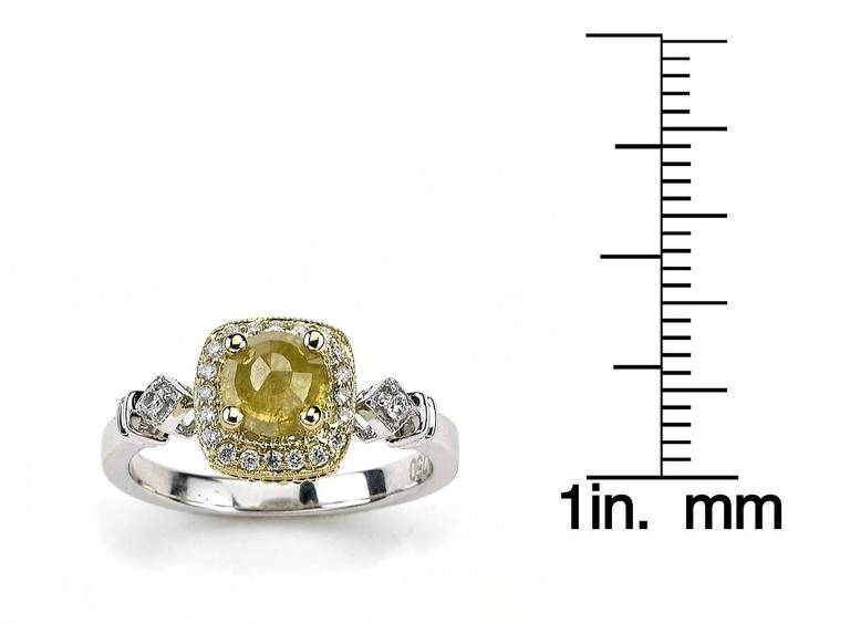Contemporary Two-Tone Ring with Fancy Yellow Diamond Centre For Sale