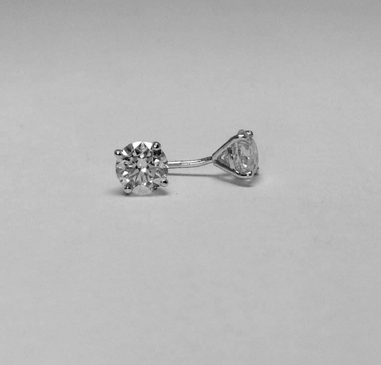Contemporary Diamond Stud Earrings 1.25 Carats 14K White Gold  For Sale