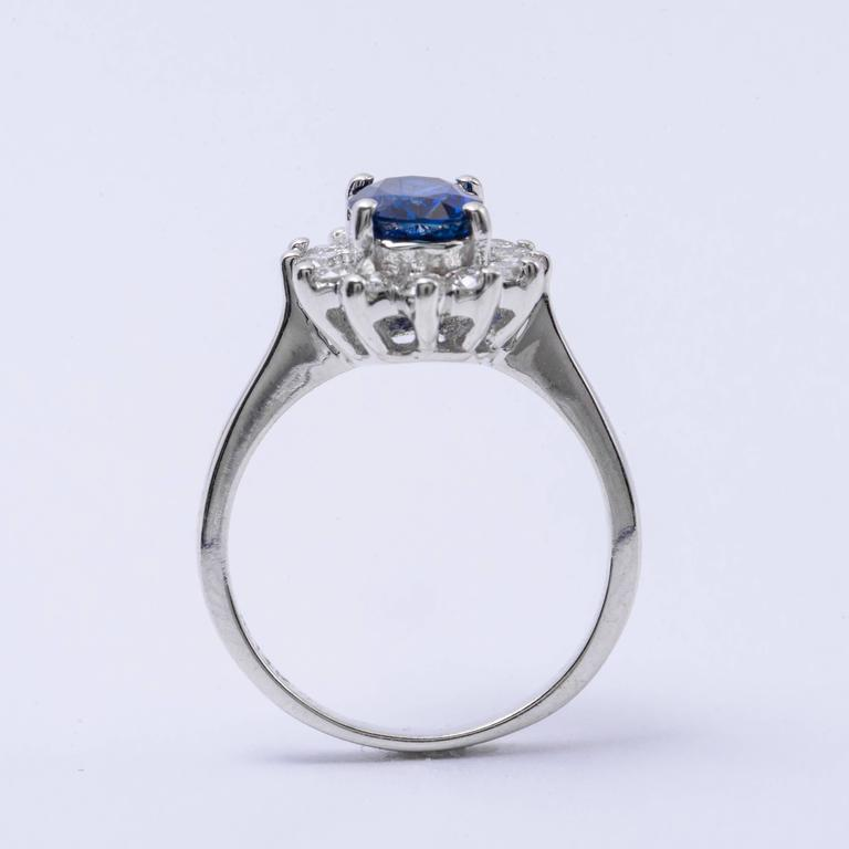 Oval Cut Oval Sapphire and Diamond Engagement Ring 1.79 Carat For Sale
