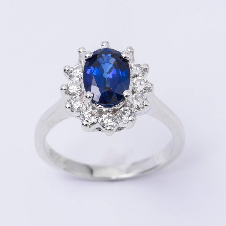 Oval Sapphire and Diamond Engagement Ring 1.79 Carat In New Condition For Sale In New York, NY