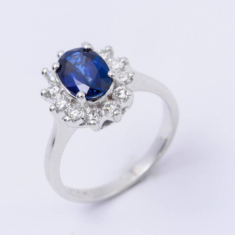 Women's Oval Sapphire and Diamond Engagement Ring 1.79 Carat For Sale