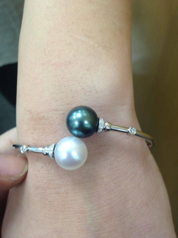 Women's South Sea Tahitian Pearl Diamond Bypass Bangle 18K White Gold  For Sale