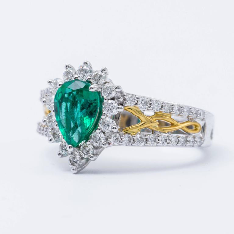Pear Shape Emerald And Diamond Halo Two Tone Ring For Sale
