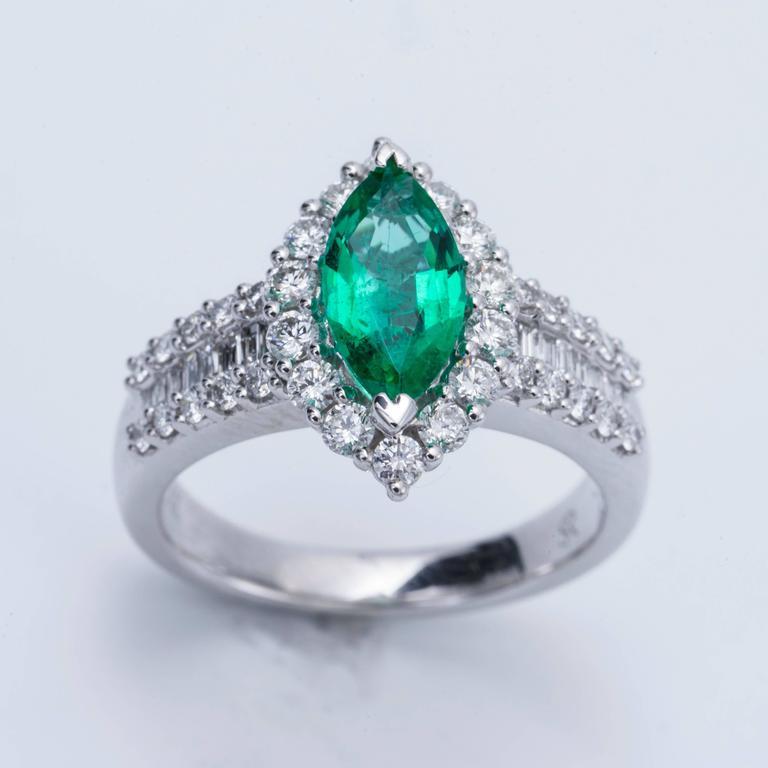Marquise Shape Zambian Emerald Diamond Gold Cocktail
