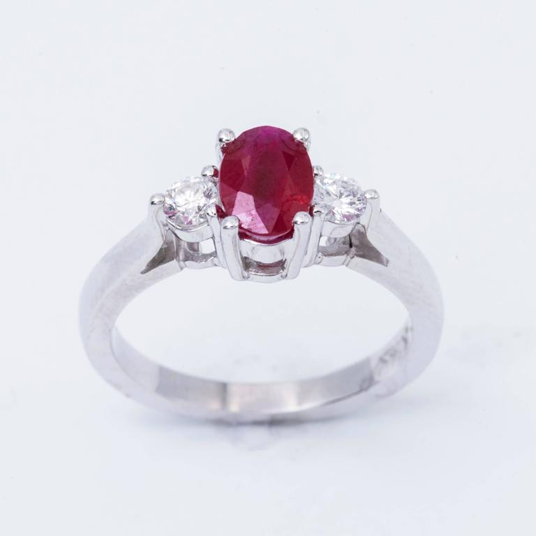 Oval Shaped 1.25 Carat Ruby Diamond White Gold Three Stone Engagement Ring  3