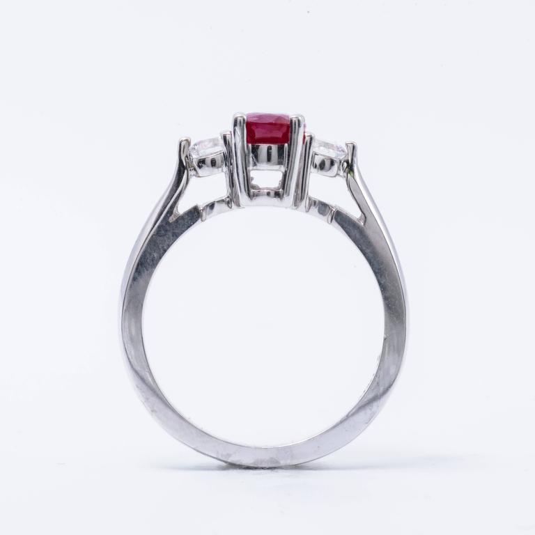 Oval Shaped 1.25 Carat Ruby Diamond White Gold Three Stone Engagement Ring  4