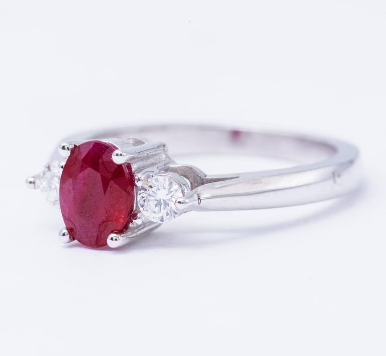 Oval Shaped 1.25 Carat Ruby Diamond White Gold Three Stone Engagement Ring  5