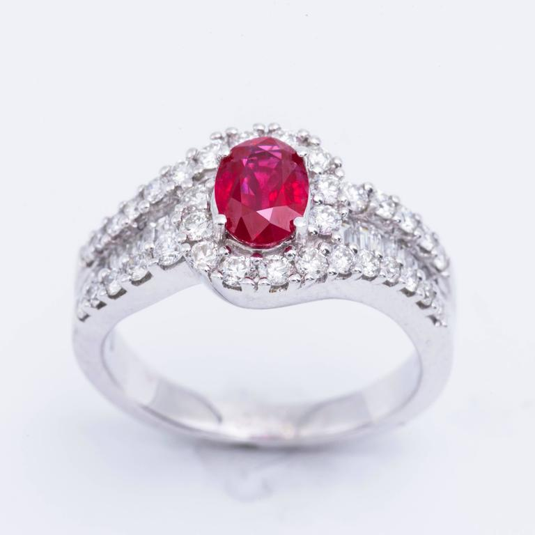 Oval Cut Oval Shaped Ruby 1.88 Carats Diamonds White Gold Engagement Cocktail Ring  For Sale