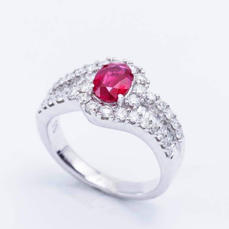 Oval Shaped Ruby 1.88 Carats Diamonds White Gold Engagement Cocktail Ring  In New Condition For Sale In New York, NY