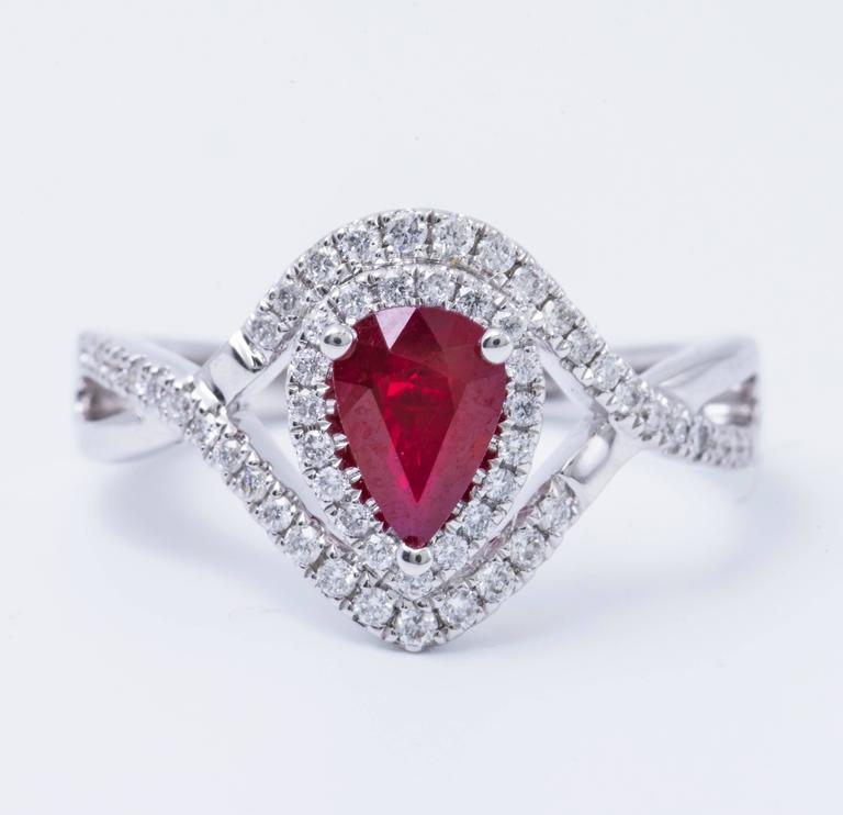Pear Shape Ruby and Diamond Engagement Cocktail Ring 1.25 Carat In New Condition For Sale In New York, NY