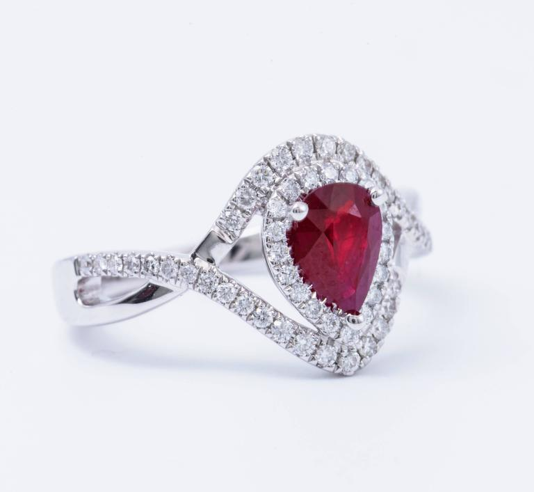 Women's Pear Shape Ruby and Diamond Engagement Cocktail Ring 1.25 Carat For Sale