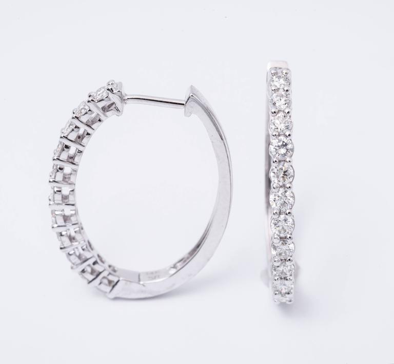 Modern 1.00 Carats Diamonds White Gold Hoop Earrings  For Sale