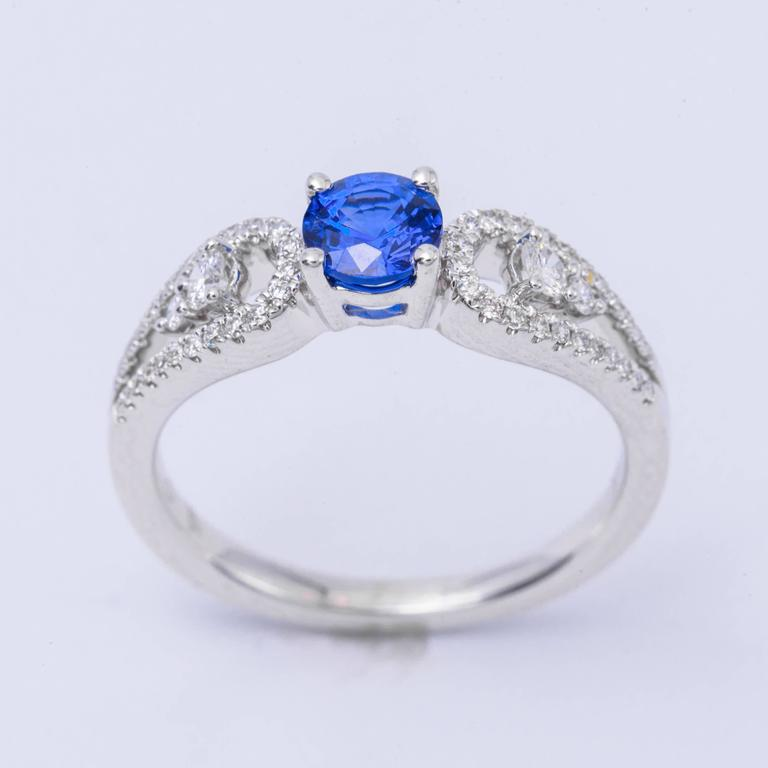 .64 Carat Ceylon Sapphire Diamond White Gold Engagement Ring   3