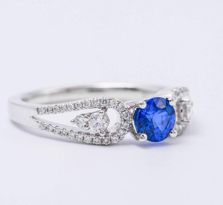 .64 Carat Ceylon Sapphire Diamond White Gold Engagement Ring   5