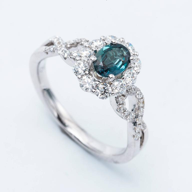 Attractive Oval Alexandrite Diamond Color Changing Halo Engagement Ring with  HB51