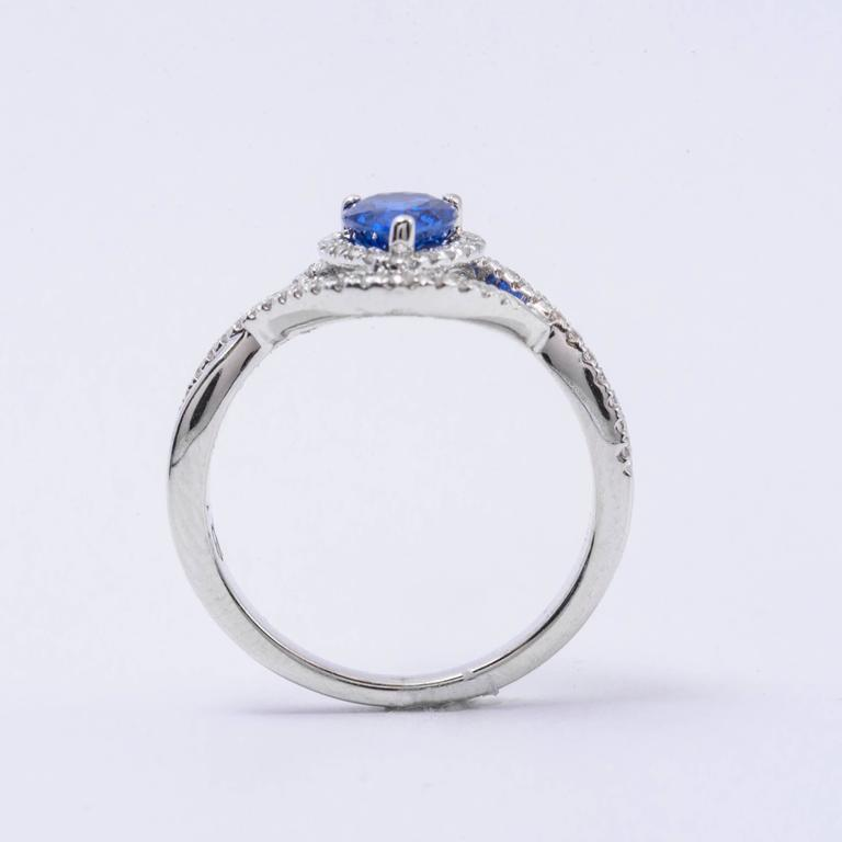 Pear Shape Sapphire Diamond White Gold Engagement Cocktail Ring In New Condition For Sale In New York, NY