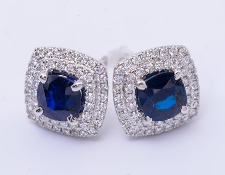 2.29 Carats Sapphires 0.55 Carats Diamonds Halo Earrings   In As new Condition For Sale In New York, NY