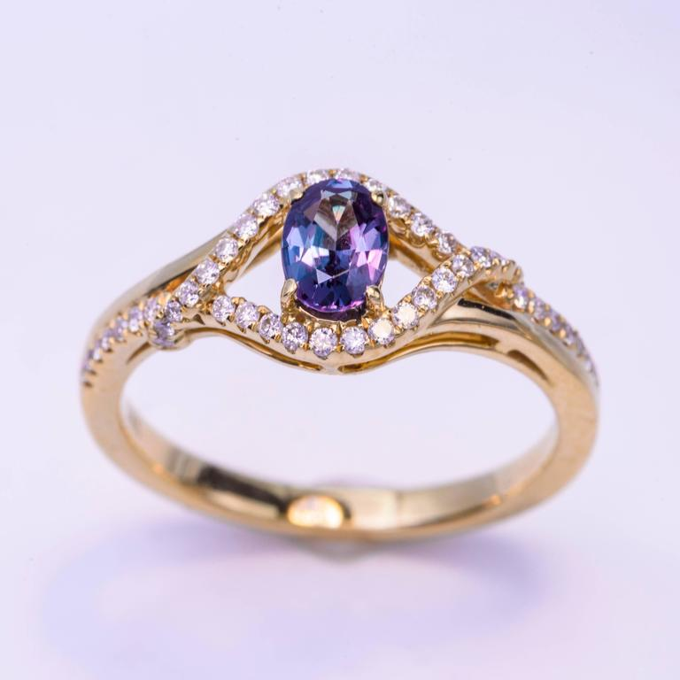 18K yellow gold  0.50 Cts. oval alexandrite  0.20 Cts Diamonds