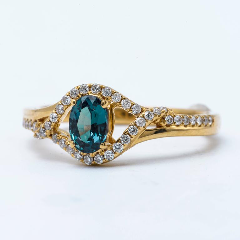 Alexandrite Yellow Gold Ring For Sale 2
