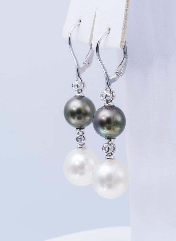 Contemporary South Sea and Tahitian Pearl Dangle Earrings For Sale