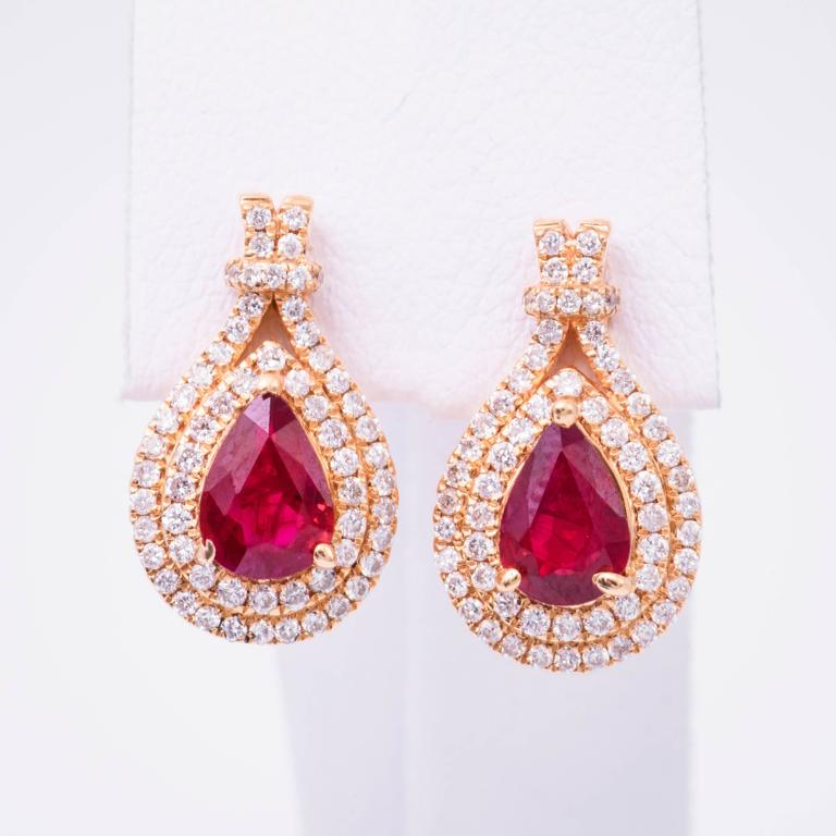 Pear Shape Ruby Diamond Rose Gold Earrings 2