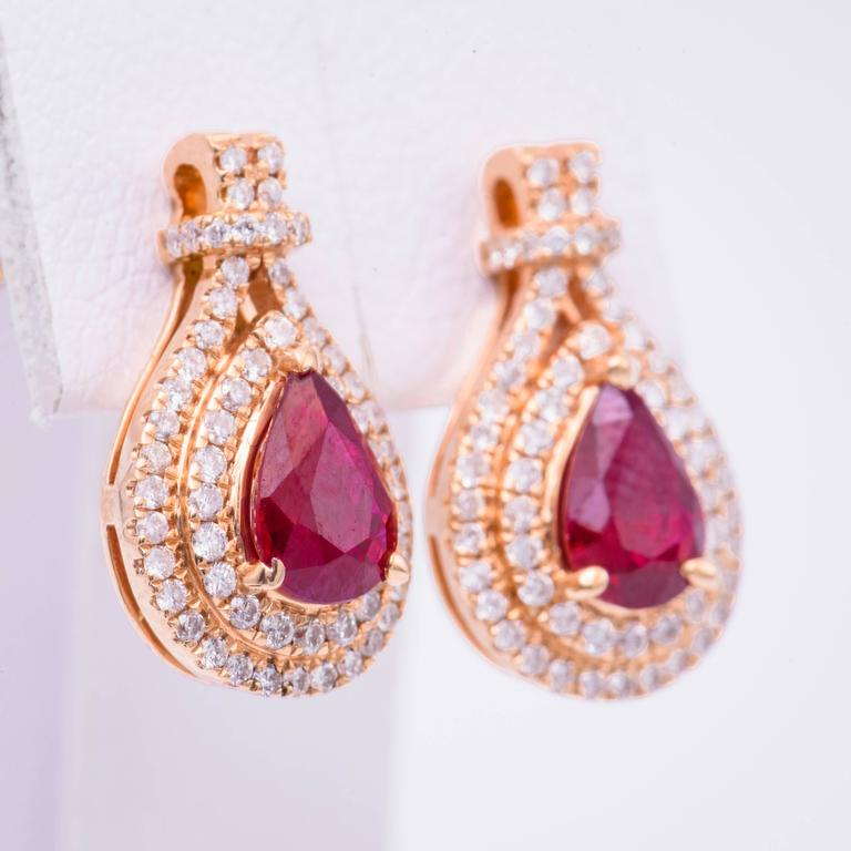 Pear Shape Ruby Diamond Rose Gold Earrings 3