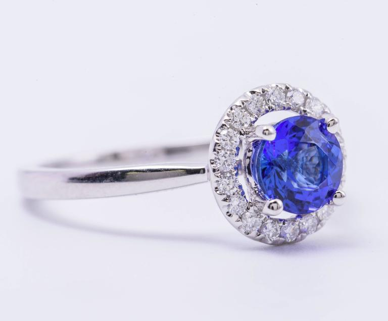 Tanzanite Diamond White Gold Engagement Halo Ring 2