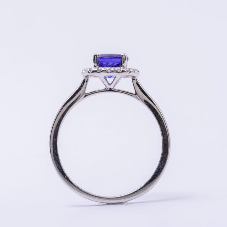 Tanzanite Diamond White Gold Engagement Halo Ring 3