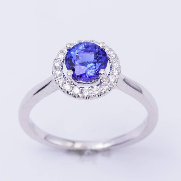 Tanzanite Diamond White Gold Engagement Halo Ring 4