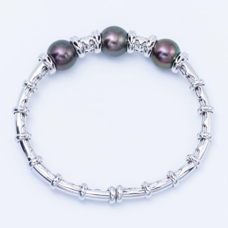 Modern White Gold Cultured Pearl Tahitian Bangle with Diamond Accent For Sale