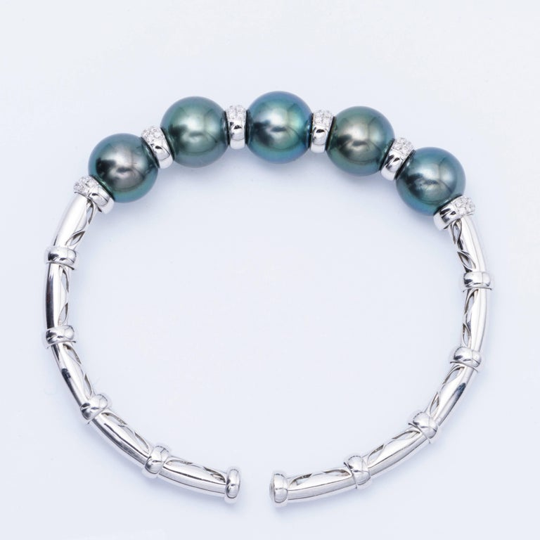 Modern Cultured Tahitian Pearls and Diamond White Gold Bangle For Sale
