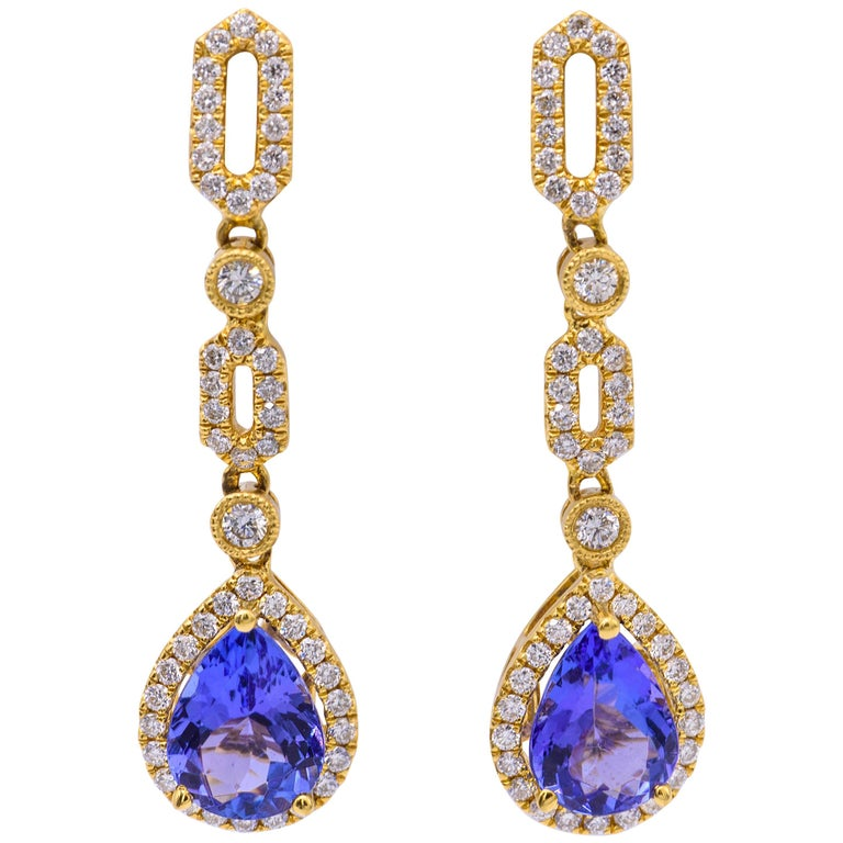 Tanzanite and Diamond Yellow Gold Dangle Earring For Sale