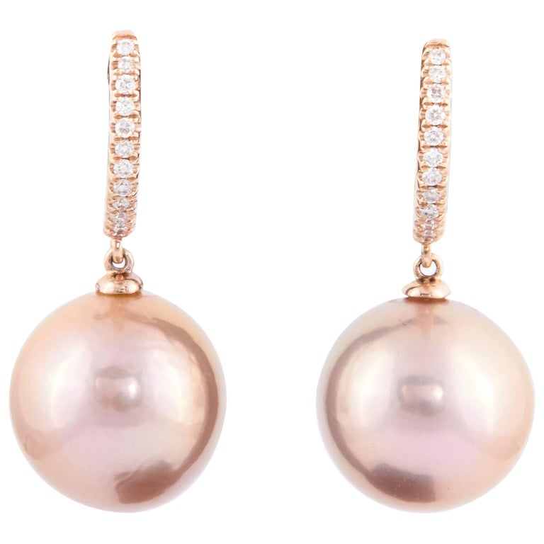 Freshwater Cultured Pearl and Diamond Earrings For Sale