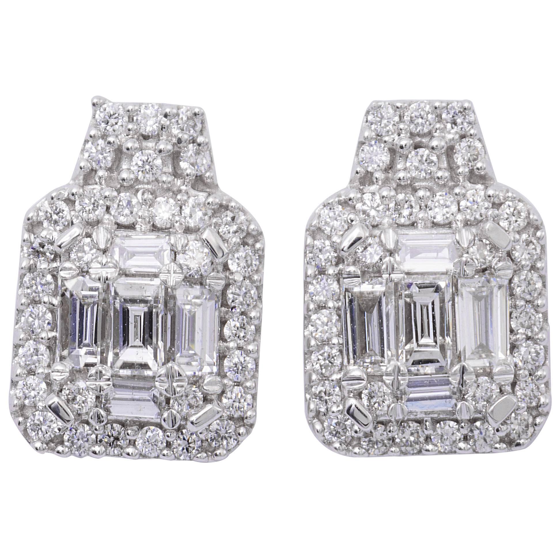 Diamond Cluster Drop Stud Earrings