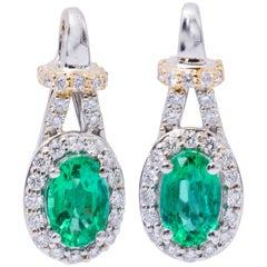 Emerald Two-Tone Drop Earrings