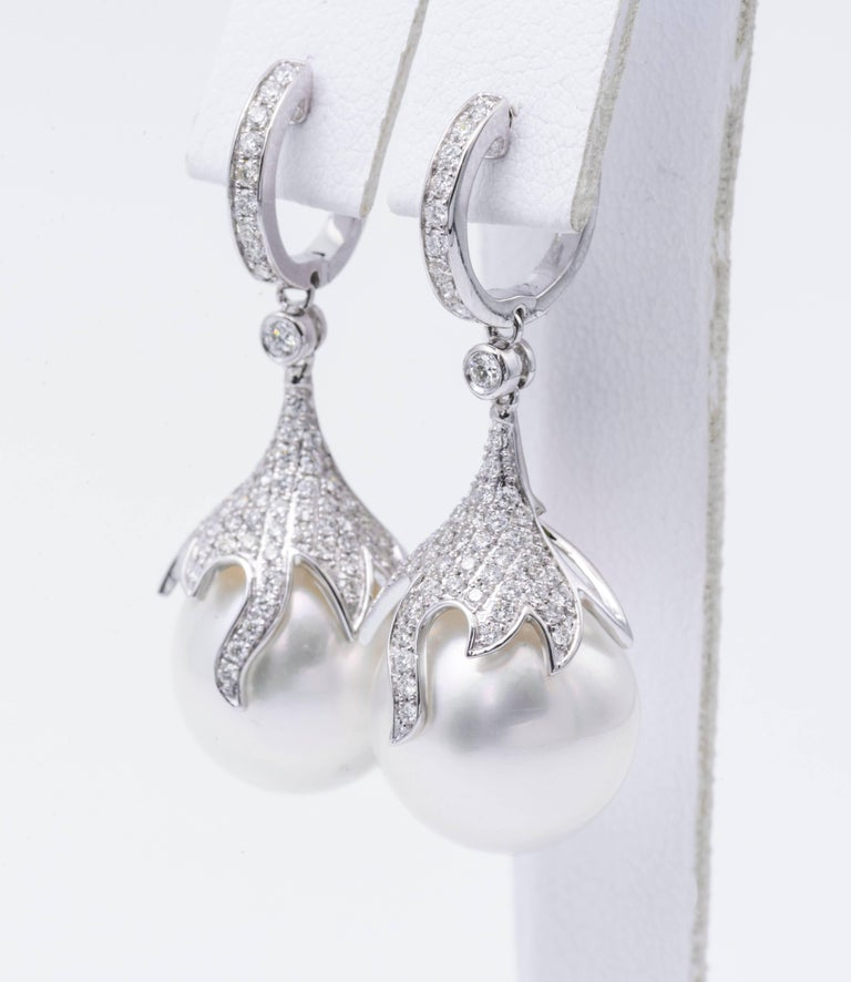 Contemporary Pearl and Diamond Dangling Drop Earrings For Sale