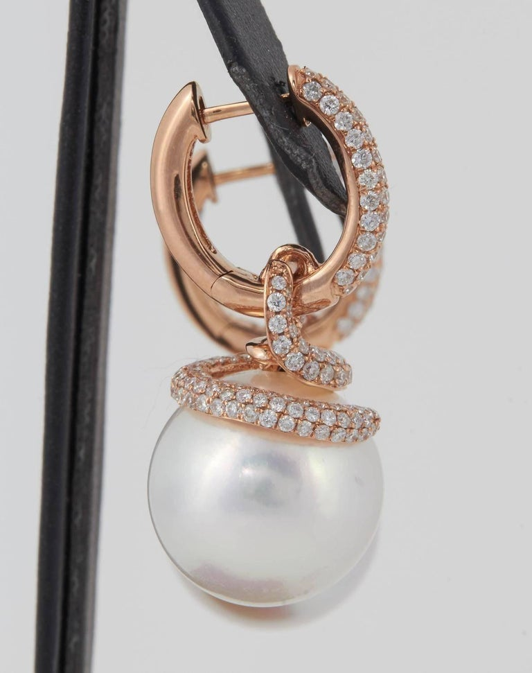 Contemporary South Sea Pearl Diamond Rose Gold Drop Dangle Earrings For Sale