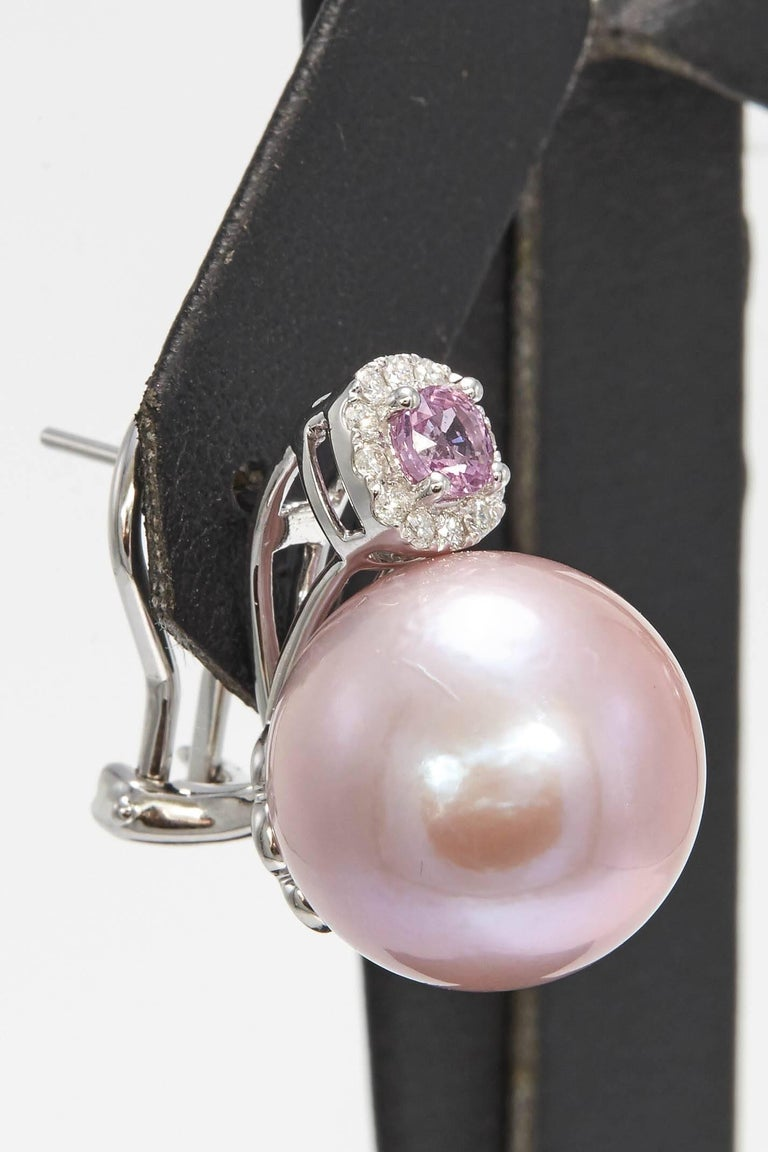 Pink Freshwater Pearl with Pink Sapphire and Diamonds Drop Earrings In New Condition For Sale In New York, NY