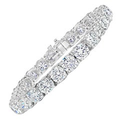 Diamond Platinum Brilliant Tennis Bracelet 21.55 Carat