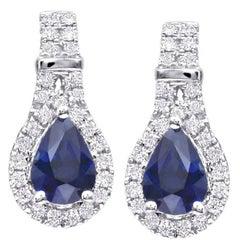 Pear Shape Sapphire Diamond White Gold Drop Earrings