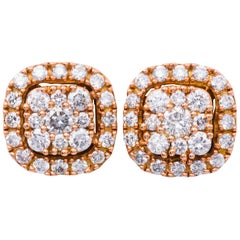 0.75 Carat Diamonds Rose Gold Cluster Stud Earrings