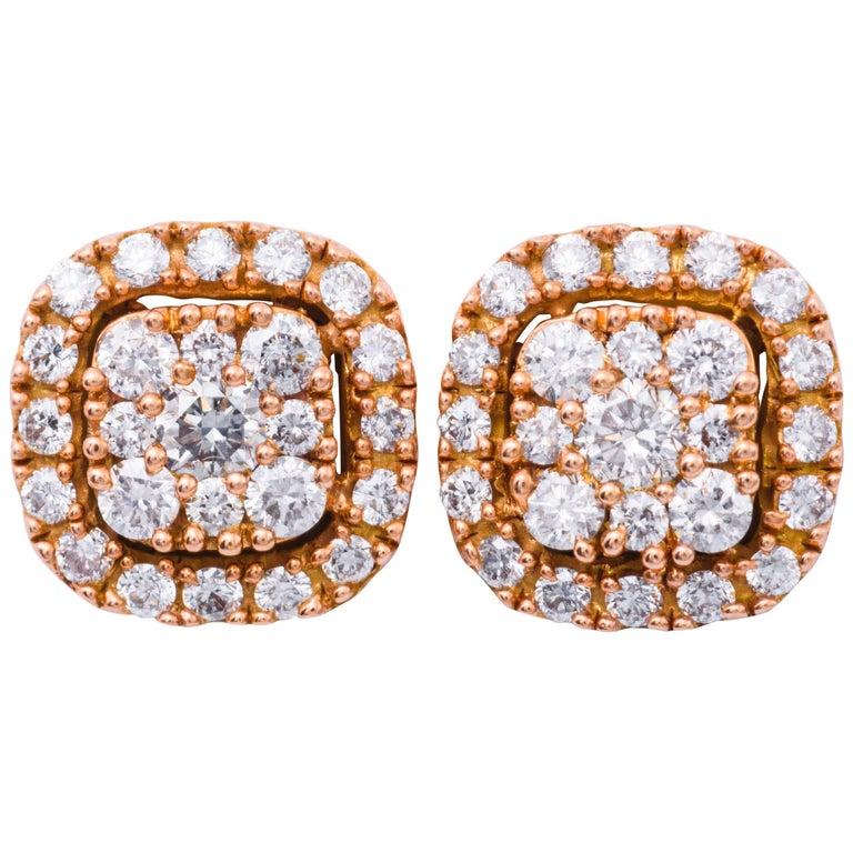 0.75 Carat Diamonds Rose Gold Cluster Stud Earrings