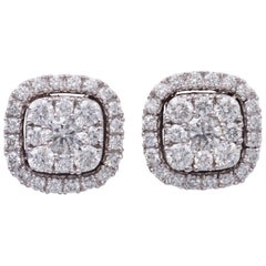 0.75 Carat Diamonds White Gold Cluster Stud Earrings